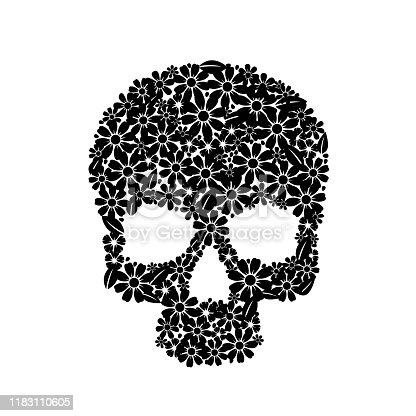 istock Painting skull flowers isolated on black, black symbol. 1183110605