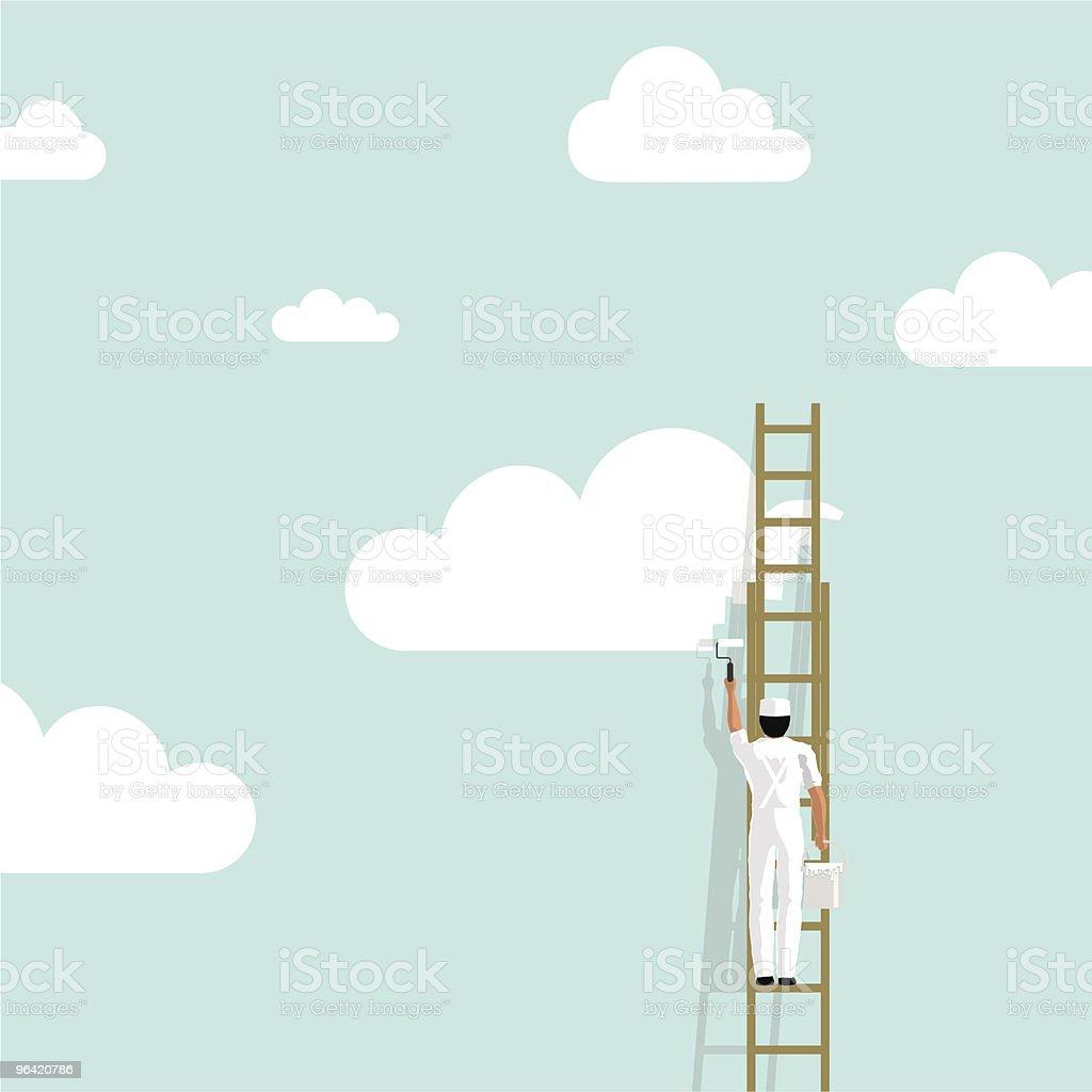 Peintre Peindre le ciel de nuages en arrière-plan de papier peint illustration vectorielle de créativité - Illustration vectorielle