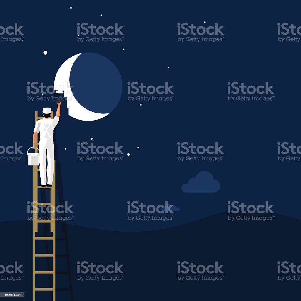 Peindre le fond de papier peint moon. créativité, vecteur illustration - Illustration vectorielle
