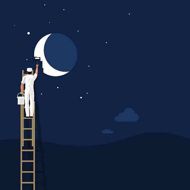 Gemälde der Mond. Hintergrund-Vektor-illustration-Hintergrund Kreativität – Vektorgrafik