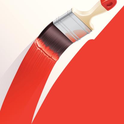 Pintando A Parede Vermelha - Arte vetorial de stock e mais imagens de Arte e Artesanato - Arte visual