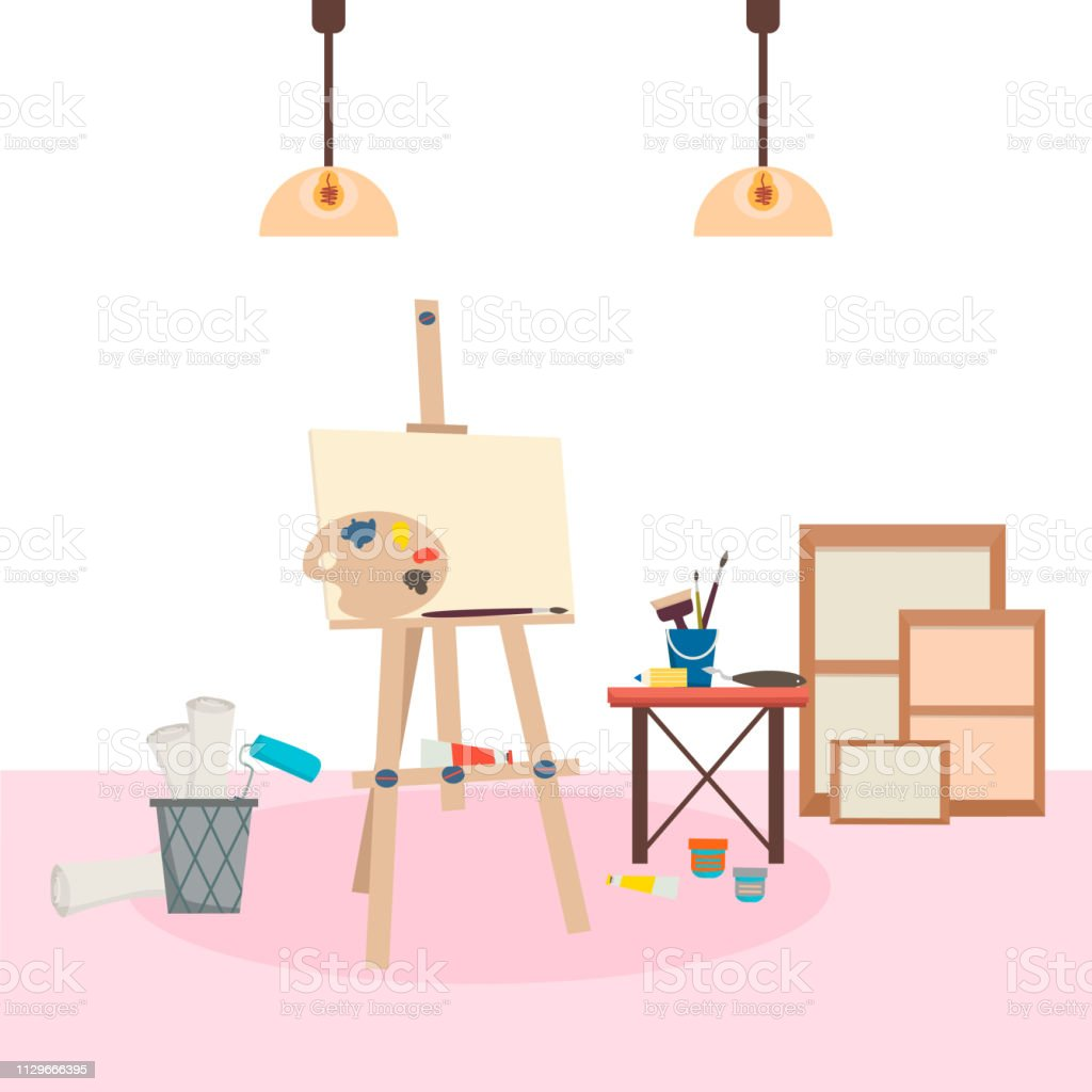 Painting tools elements collection. Art studio workplace. Art...