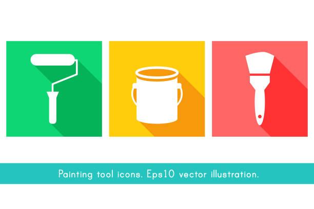 illustrations, cliparts, dessins animés et icônes de icônes d'outils de peinture au design plat - logo peintre en batiment