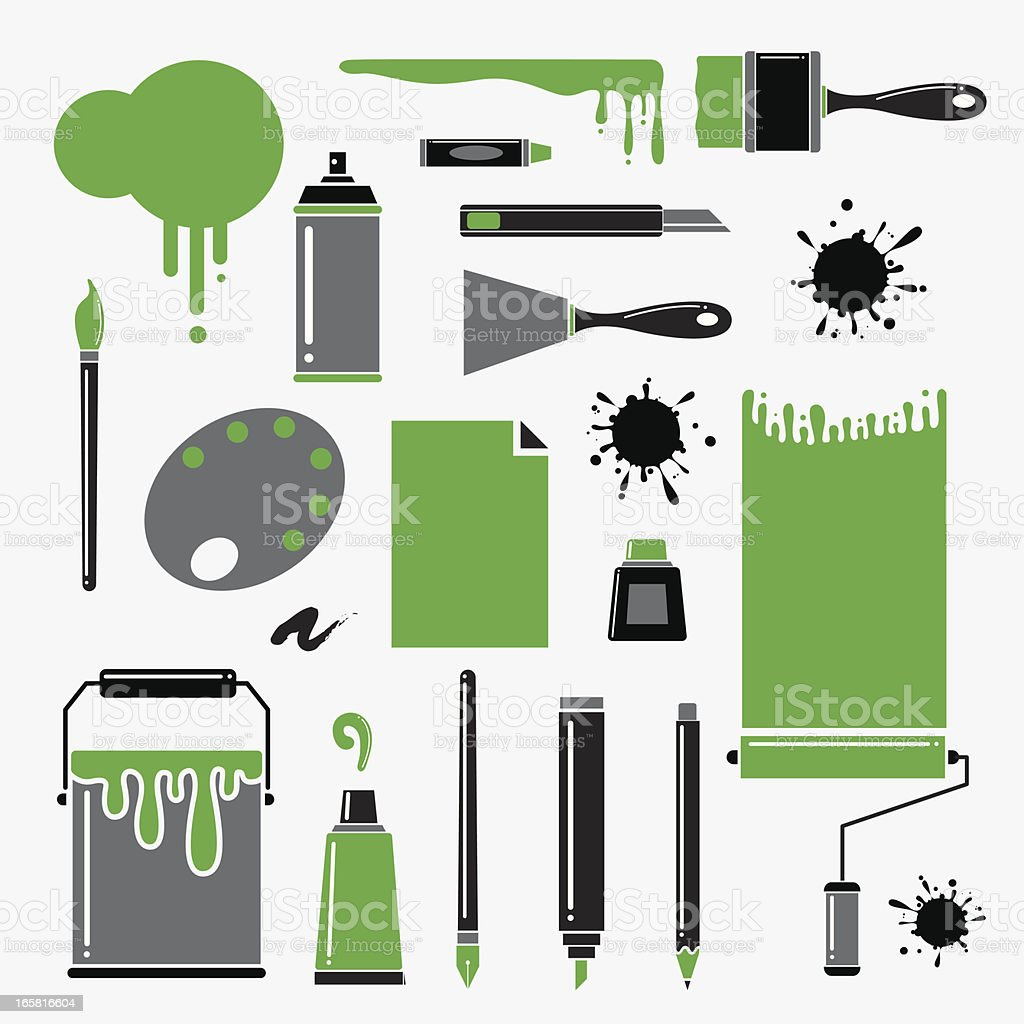 Painting tools vector art illustration