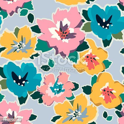 Painting universal freehand floral seamless pattern. Graphic design for background, card, banner, poster, cover, invitation, fabric, header or brochure