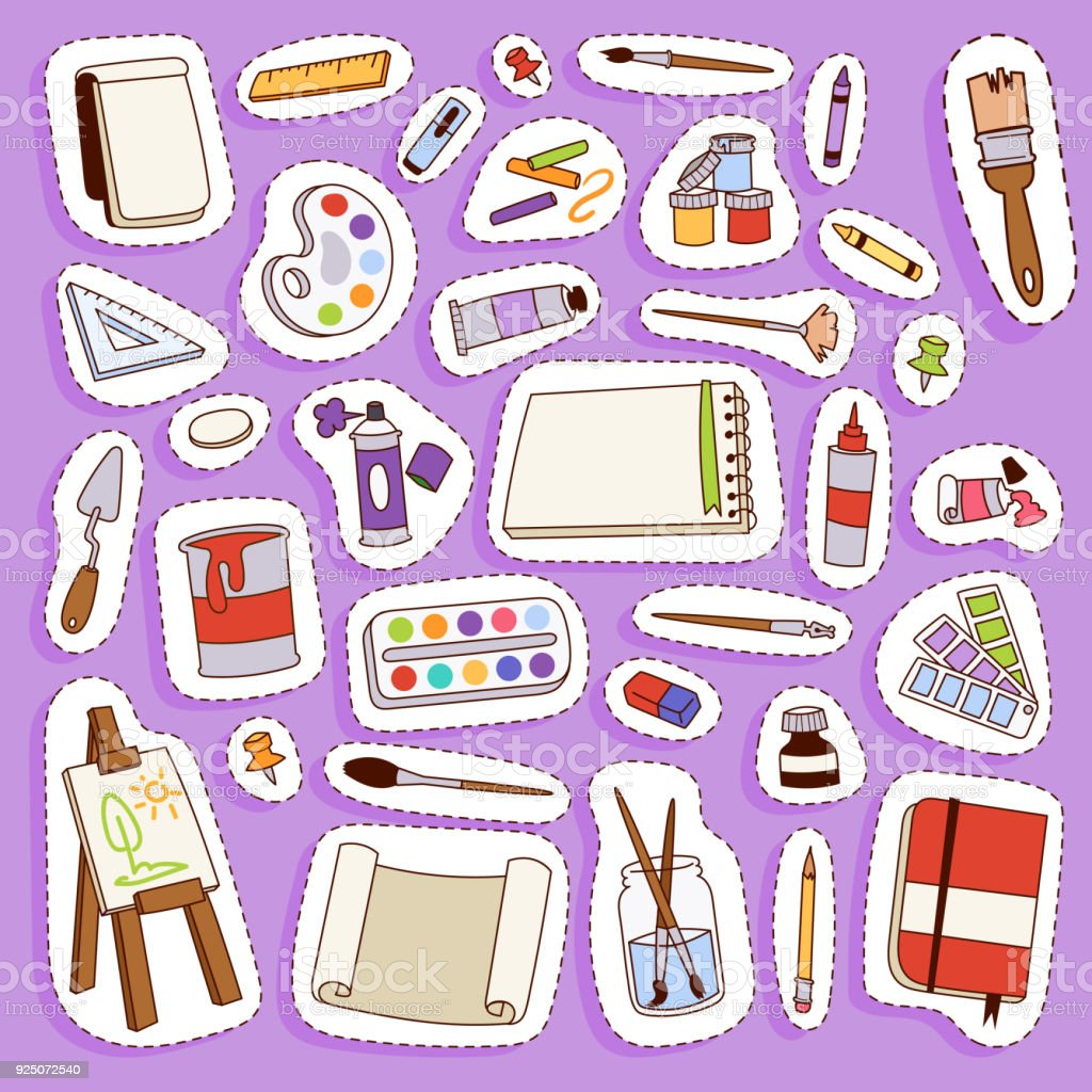 Painting vector artist tools palette icon set flat illustration details stationery creative paint equipment art canvas drawing symbol artist instrument for creativity decoration vector art illustration