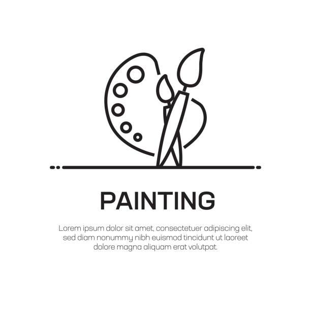 lackierung vector line icon-einfache dünnlinie ikone, premium-qualitäts-design-element - hausfarbpaletten stock-grafiken, -clipart, -cartoons und -symbole