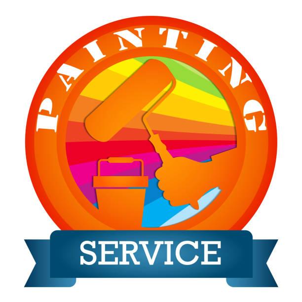 illustrations, cliparts, dessins animés et icônes de peinture avec un symbole de rouleau - logo peintre en batiment