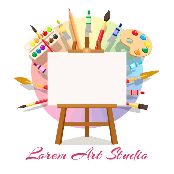 Painting workshop elements Painting workshop elements. Artistic oil painting image and masterpiece art materials, vector easel artist tools, paint drawing workplace creation material set art stock illustrations