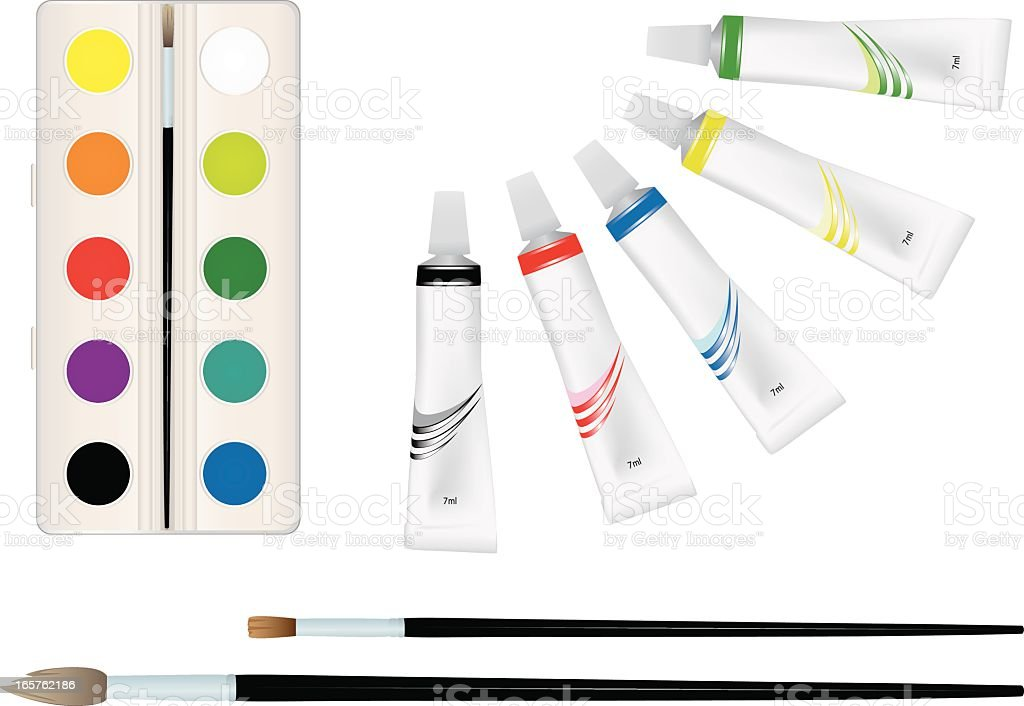 Paints and brushes. royalty-free stock vector art