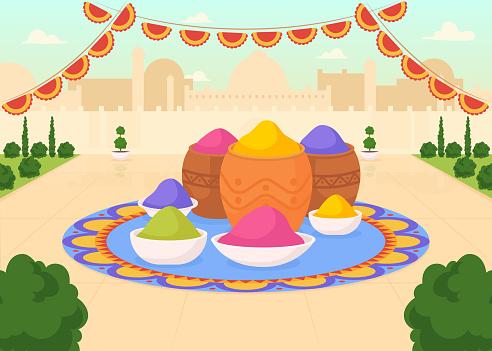 Paints for Holi fest flat color vector illustration