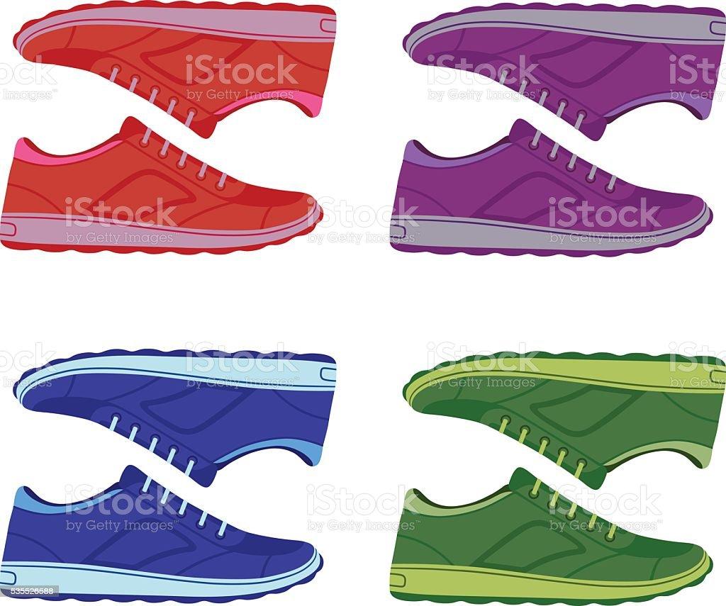 9e11c370467f Пара Цветные замшевые Кроссовки и туфли Пара Цветные замшевые Кроссовки и  туфли — стоковая векторная графика