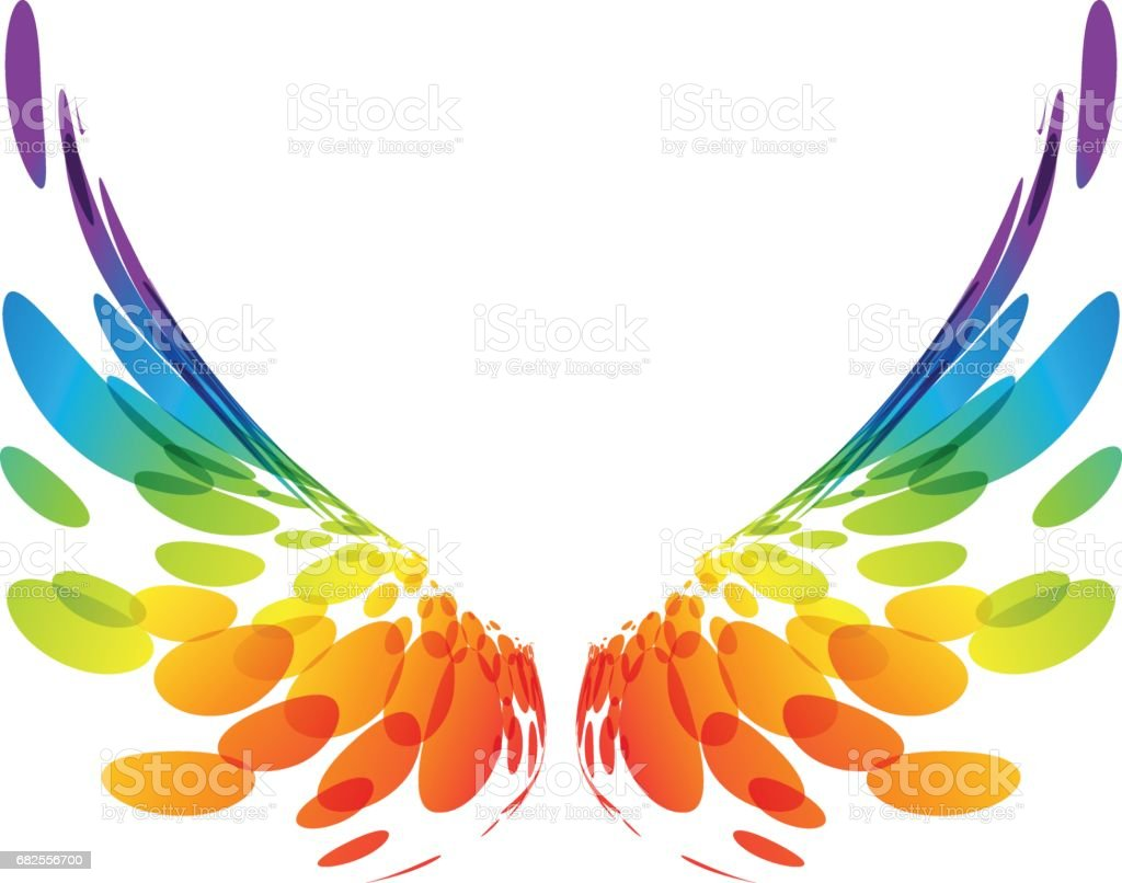 Pair colorful wings on white vector art illustration
