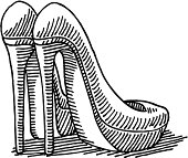 Pair High Heel Shoes Drawing