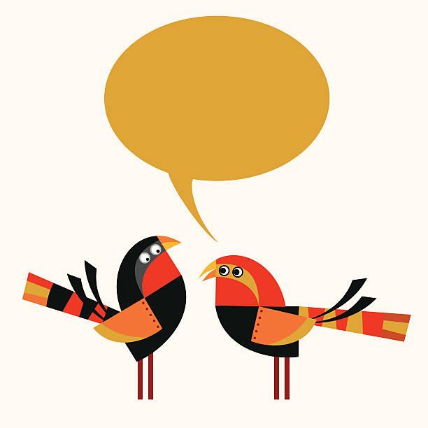 ilustraciones, imágenes clip art, dibujos animados e iconos de stock de par de pájaros - tintanegra00