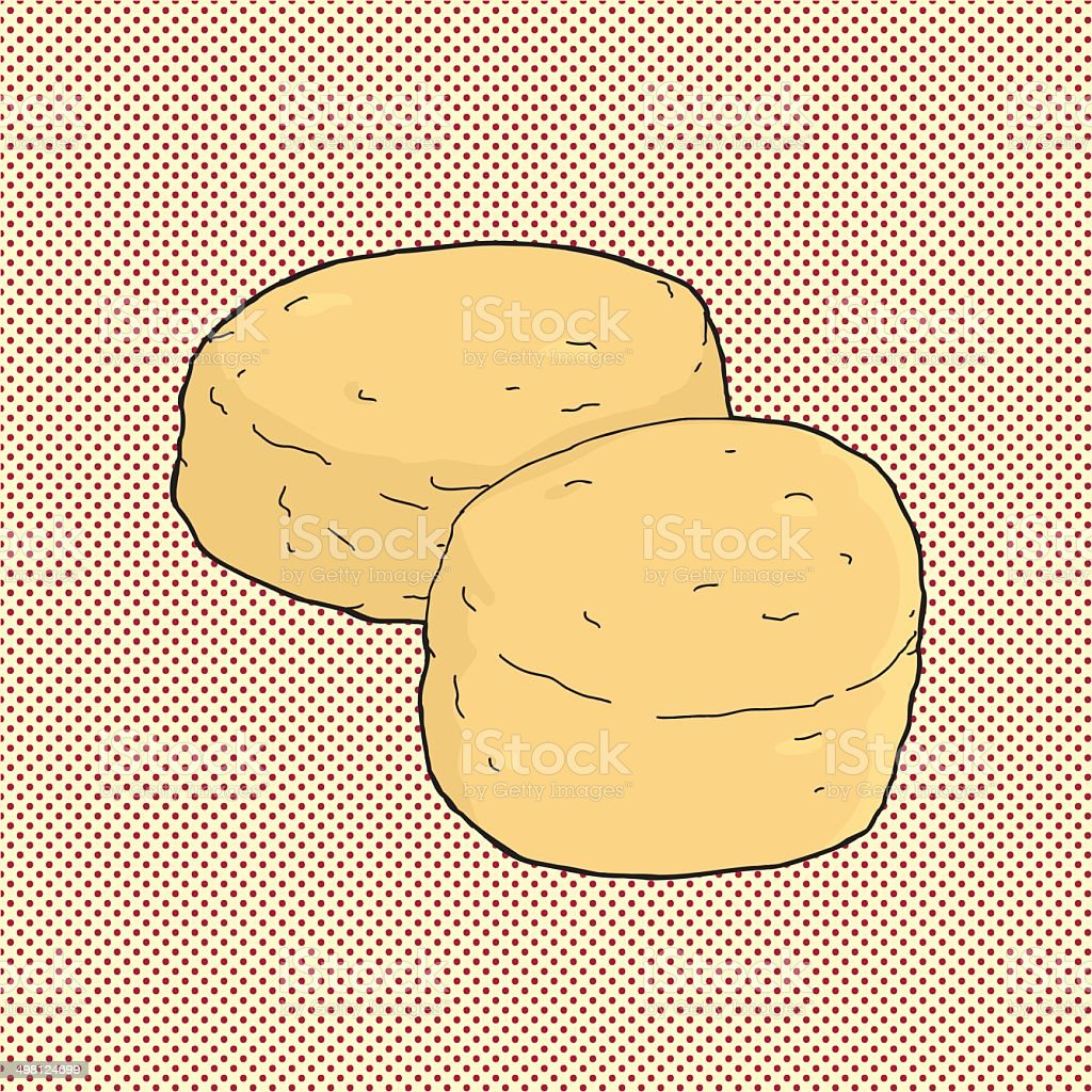 Pair of Biscuits vector art illustration