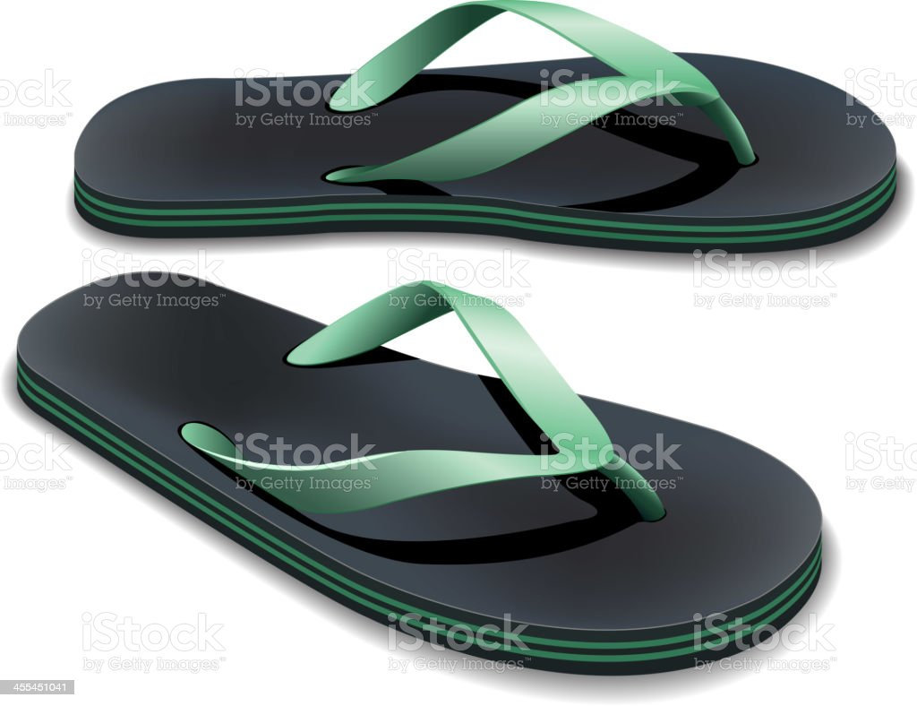 A pair of black and green flip flops vector art illustration