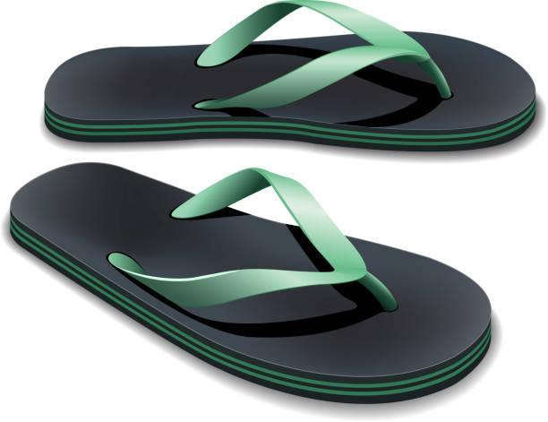 stockillustraties, clipart, cartoons en iconen met a pair of black and green flip flops - slipper