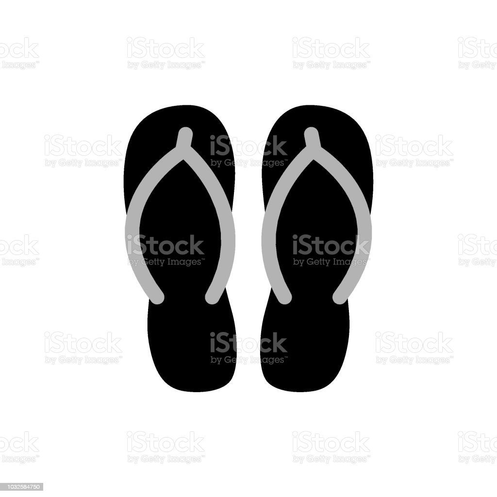 4389070cb Pair Of Black Flip Flops Vector Illustration Stock Vector Art   More ...