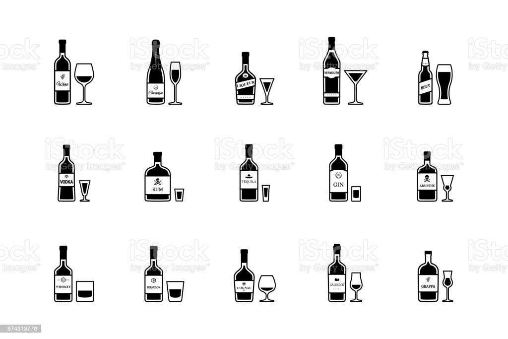 Pair of bottle and glass of alcoholic beverages, black and white icons. Vector vector art illustration