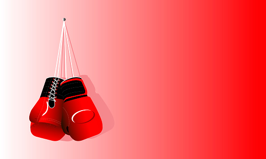 Pair of boxing gloves on red background, space for text. Vector illustration.