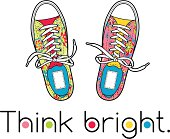 A pair of bright canvas shoes.
