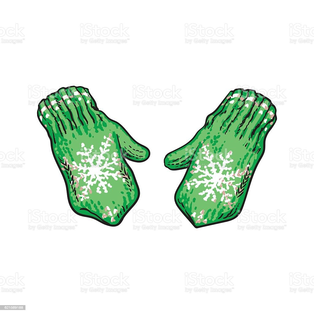 Pair of bright green winter knitted mittens with snowflakes pair of bright green winter knitted mittens with snowflakes – cliparts vectoriels et plus d'images de accessoire libre de droits