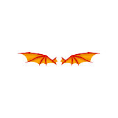 Pair of bright orange dragon wings. Accessory of carnival costume. Flat vector element for children book or invitation card