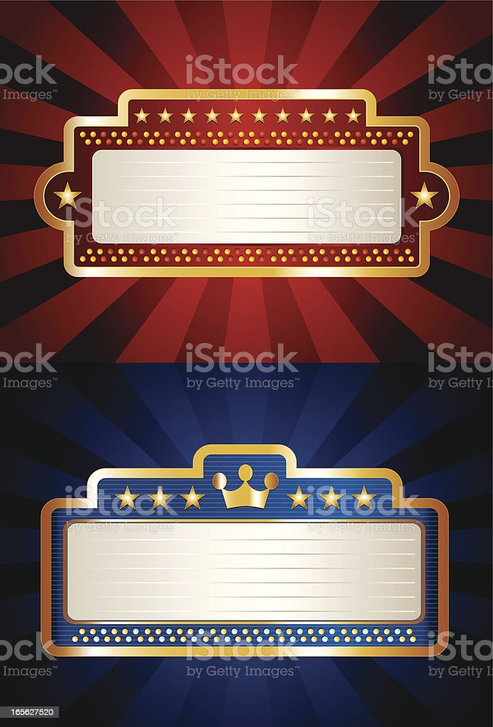 Pair of Bright Theater Marquees vector art illustration