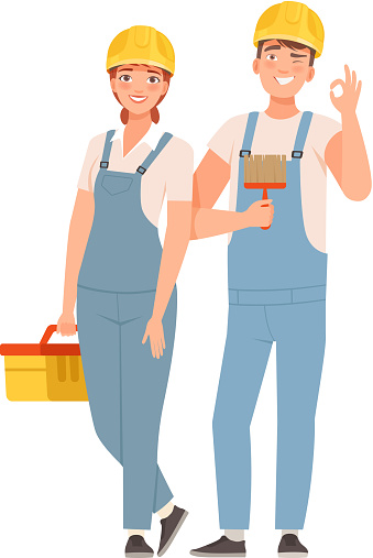 Pair of builders in blue overalls with tools. Vector illustration