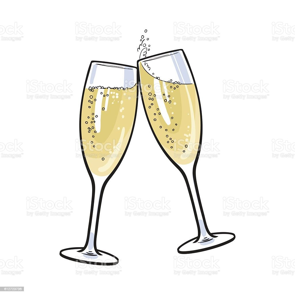 Pair of champagne glasses, holiday toast - illustrazione arte vettoriale