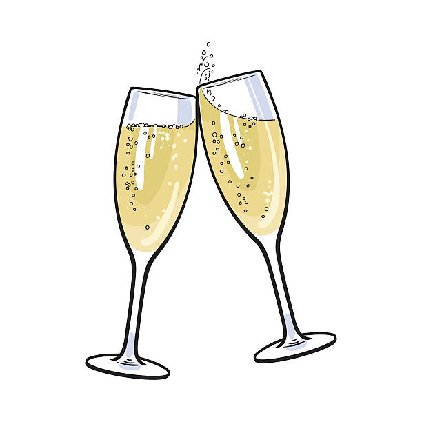 pair of champagne glasses, holiday toast - champagnerglas stock-grafiken, -clipart, -cartoons und -symbole