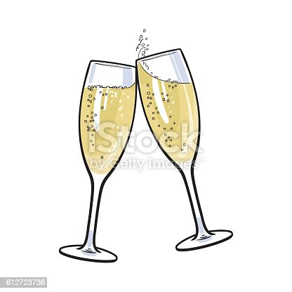 pair of champagne glasses holiday toast stock vector art. Black Bedroom Furniture Sets. Home Design Ideas