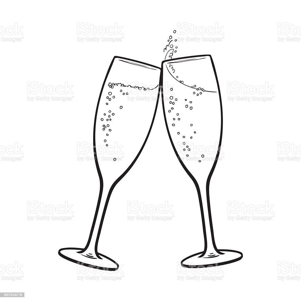 Pair of champagne glasses, holiday toast vector art illustration