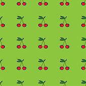 Pair of cherries seamless pattern on green. Vector illustration
