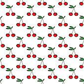 Pair of cherries seamless pattern on white. Vector illustration
