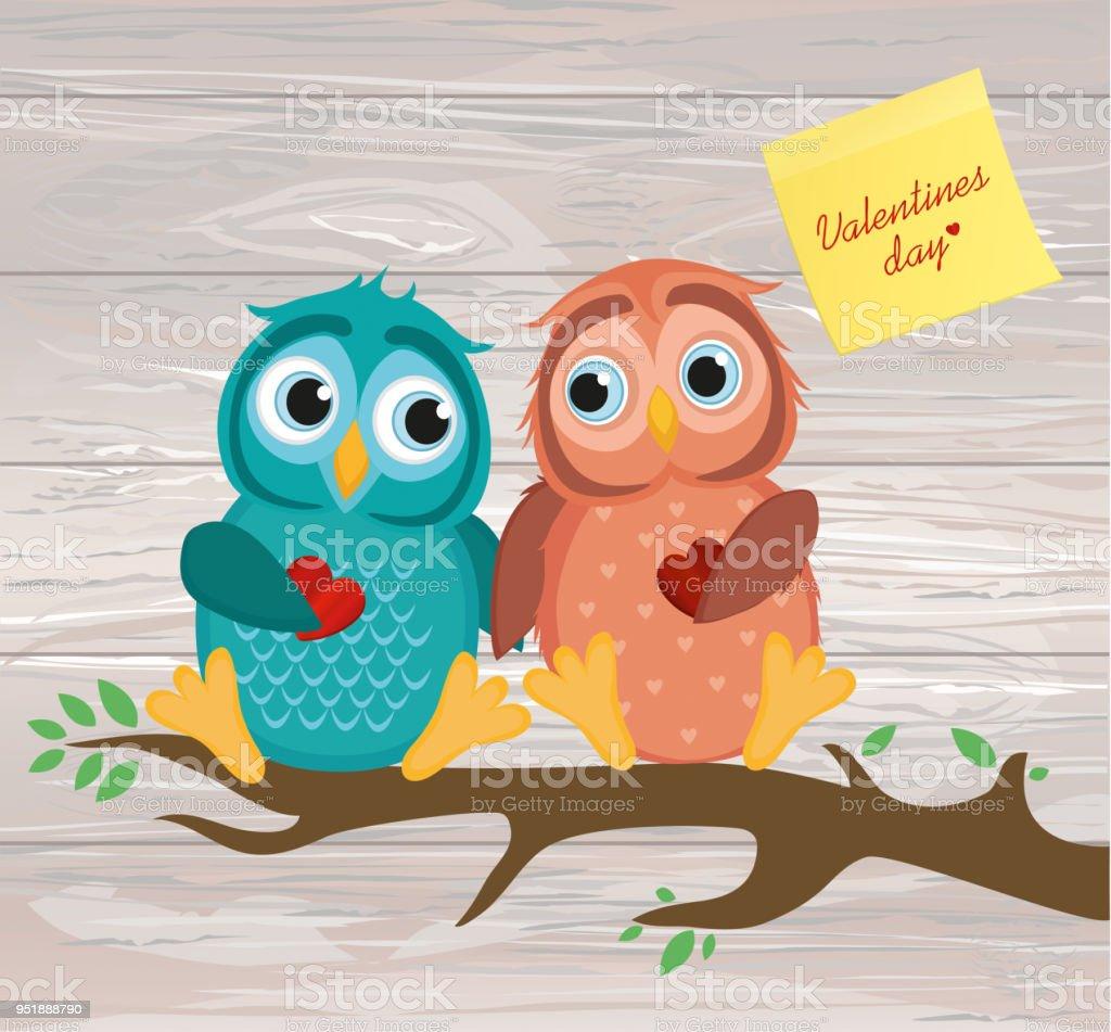 Ein Paar Niedliche Owlet Auf Einem Ast Gelbes Blatt Papier Für ...