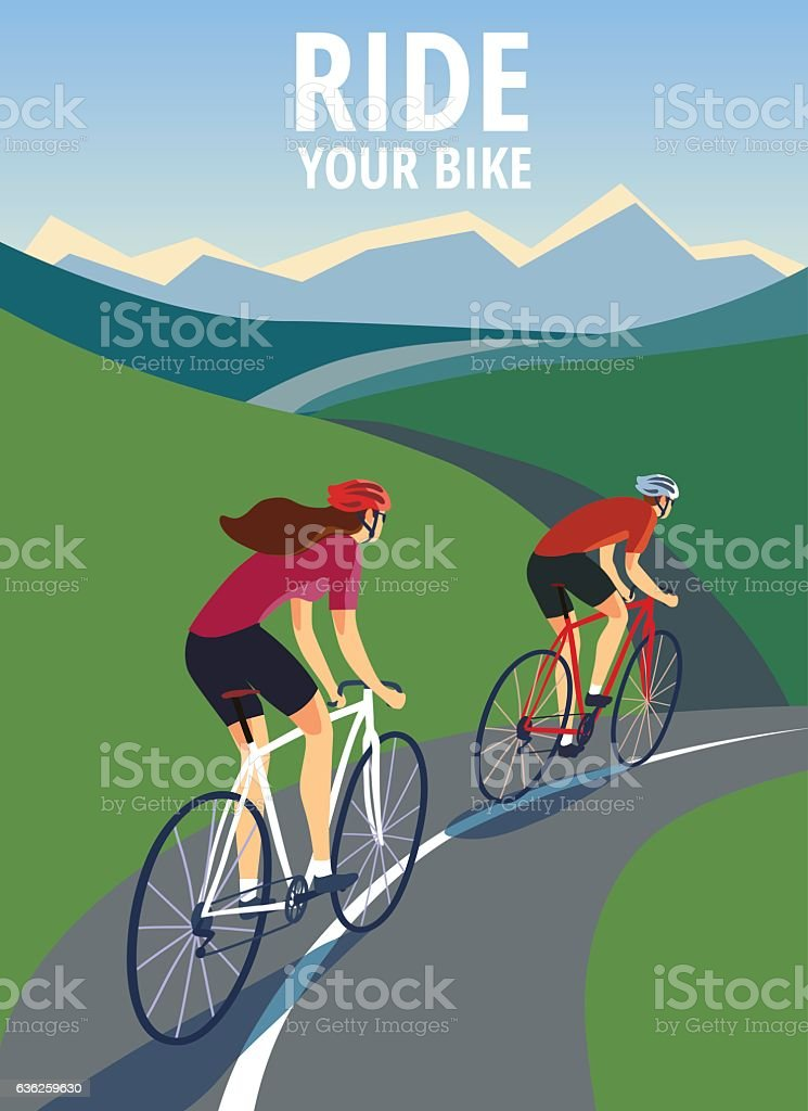 Pair of cyclists  on the road near the hills. vector art illustration