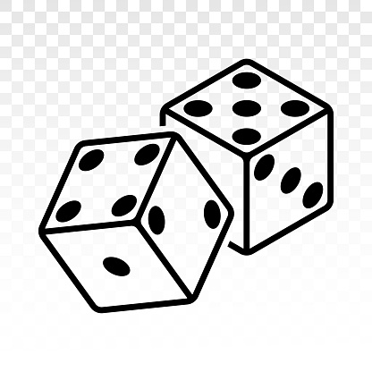 Pair of dice to stake or gambling with craps line art vector icon for casino apps and websites.