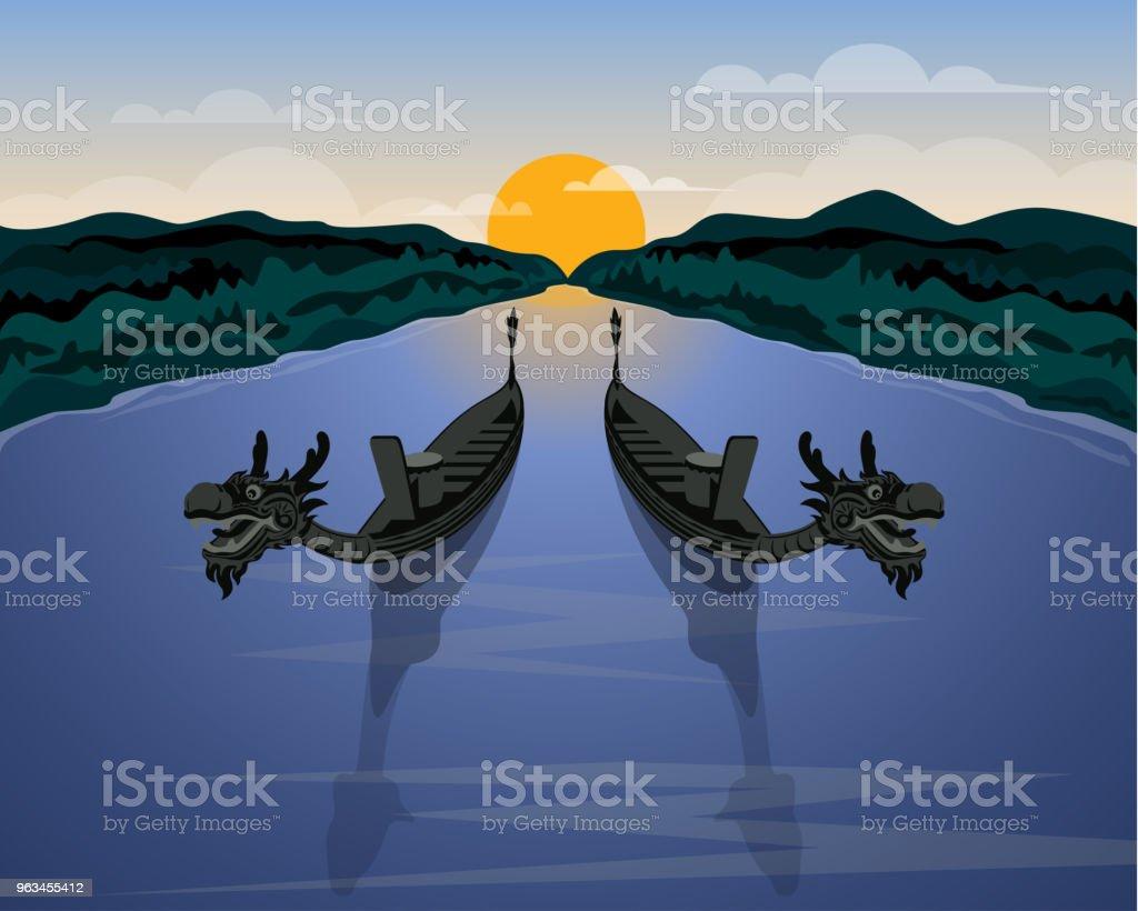 A pair of dragon boats and natural scene background illustration - Grafika wektorowa royalty-free (Bez ludzi)