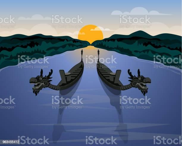 Para Smoczych Łodzi I Naturalna Ilustracja W Tle Sceny - Stockowe grafiki wektorowe i więcej obrazów Smocza łódź