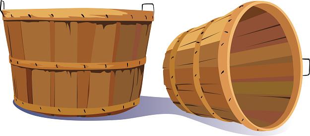 Pair of Empty Old Fashioned Farm Harvest Bushel Baskets