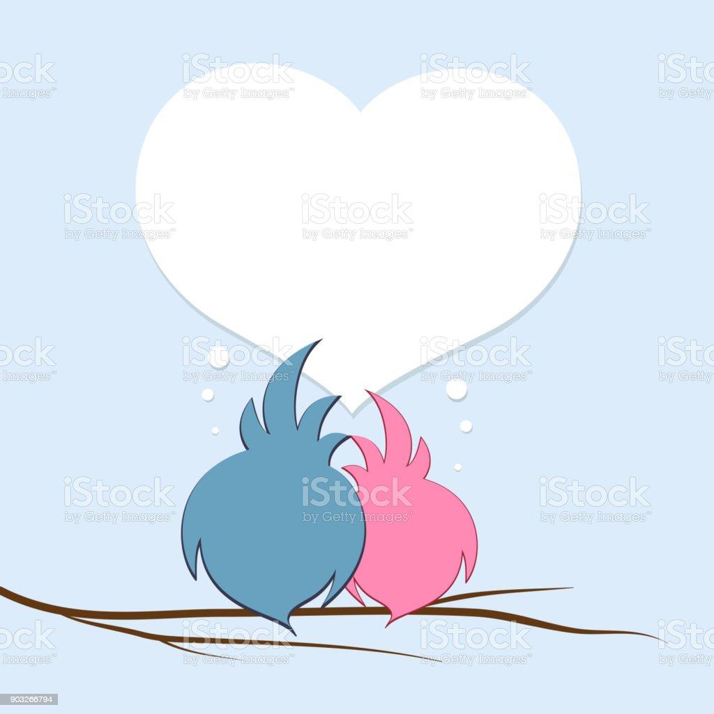 Ein Paar Verliebte Vogel Auf Einem Ast Vor Dem Hintergrund Der