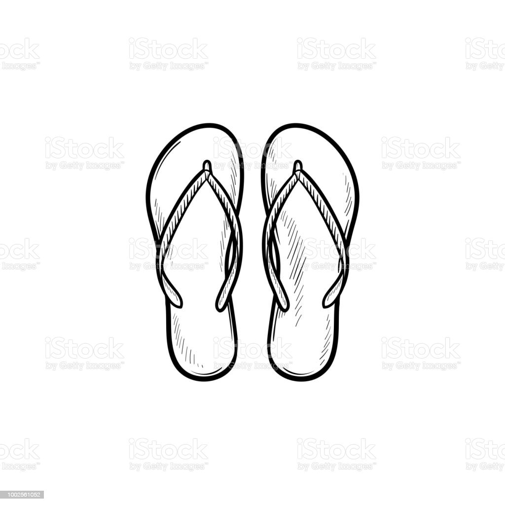 439c767a5 Pair of flip flop slippers hand drawn outline doodle icon - Illustration .
