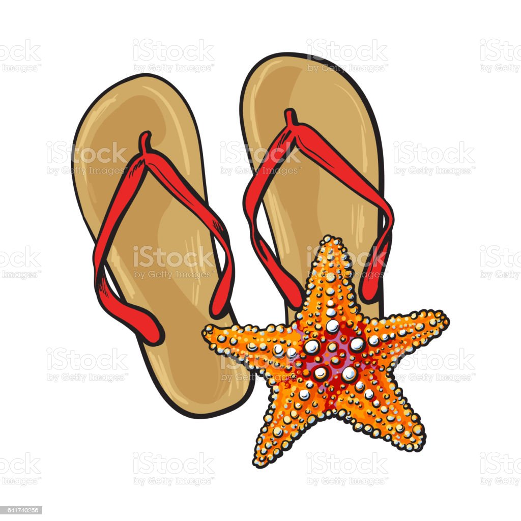 8a3d3453e7368 Pair Of Flip Flops And Starfish Symbols Of Beach Vacation Stock ...