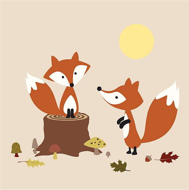 foxes のペア - キツネ点のイラスト素材/クリップアート素材/マンガ素材/アイコン素材