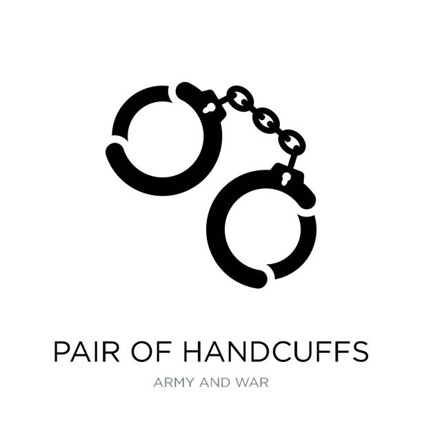 pair of handcuffs icon vector on white background, pair of handcuffs trendy filled icons from Army and war collection pair of handcuffs icon vector on white background, pair of handcuffs trendy filled icons from Army and war collection punishment stock illustrations