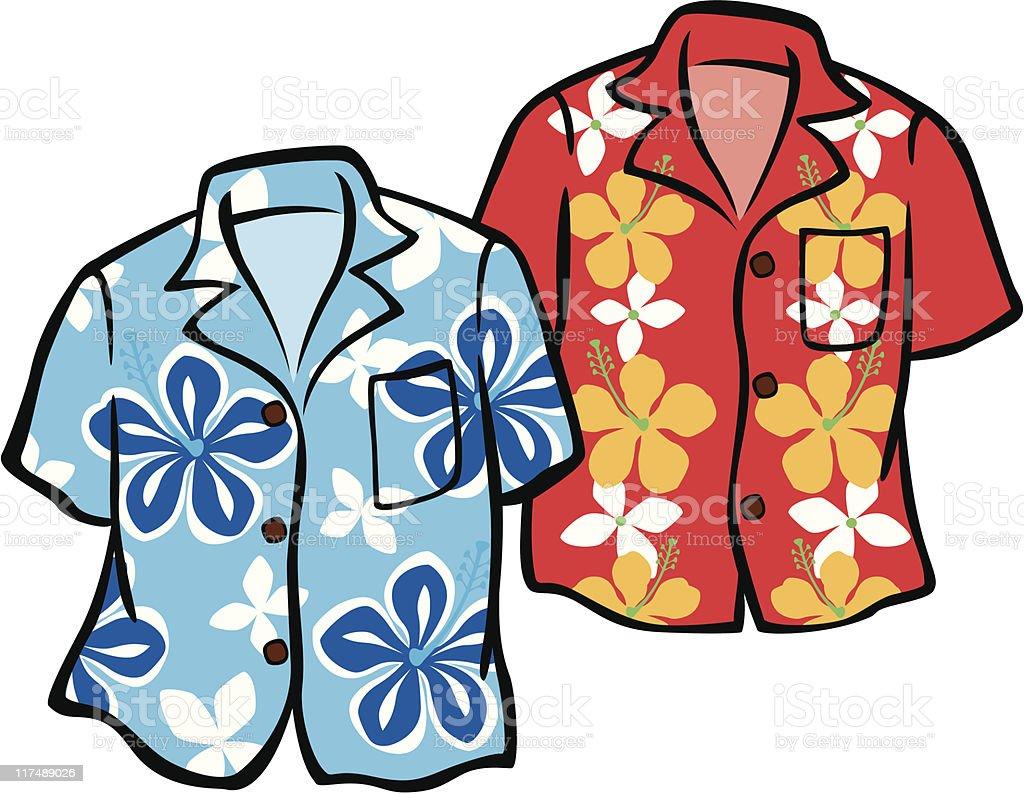 Pair of Hawaiian Aloha Shirts vector art illustration