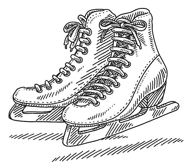 Pair Of Ice Skates Drawing Hand-drawn vector drawing of a Pair Of Ice Skates for Women. Black-and-White sketch on a transparent background (.eps-file). Included files are EPS (v10) and Hi-Res JPG. winter sport stock illustrations