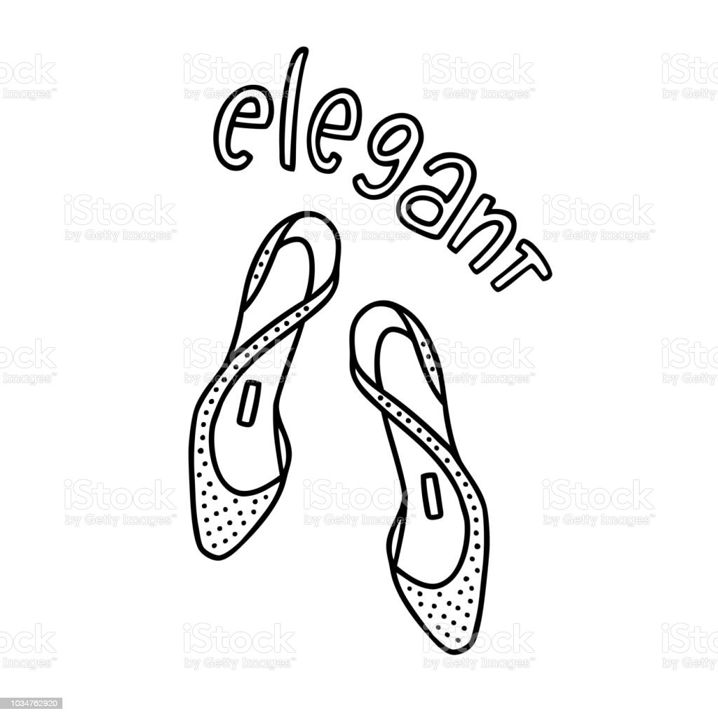 9f242dcb8 Pair of lady's shoes with a handwritten word Elegant royalty-free pair of  ladys shoes